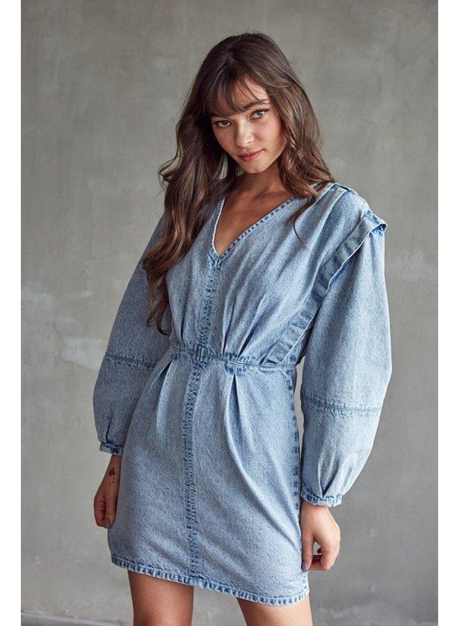 Acid Wash Denim Mini Dress