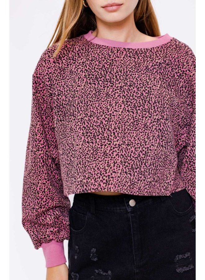 Long Sleeve Leopard Crop Top