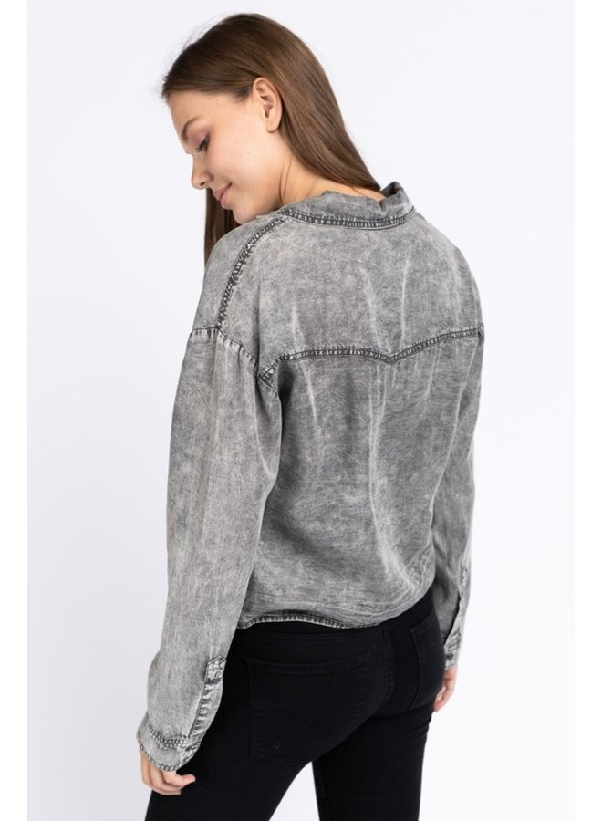 Acid Wash Cropped Button Down