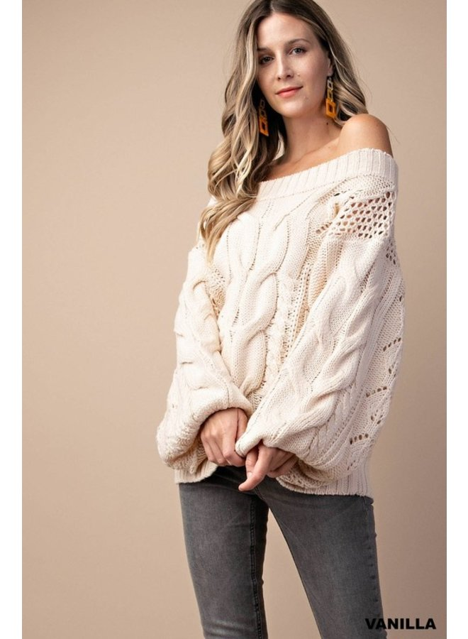 Puff Sleeve Cable Sweater