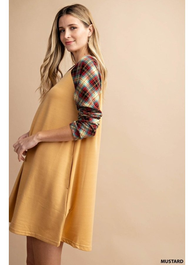 Plaid Sleeve Terry Dress