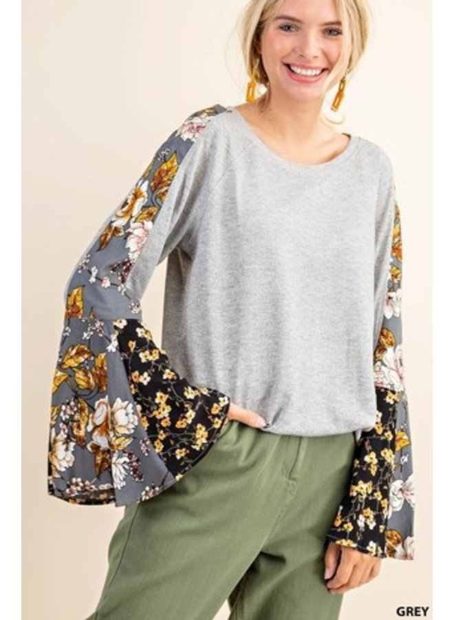 Floral Sleeve Knit Top