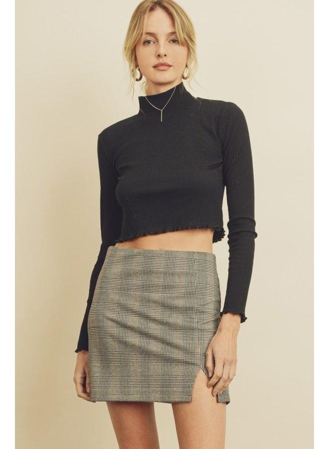 Plaid Side Split Skirt