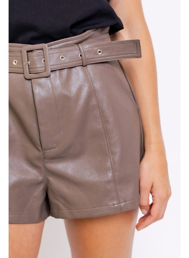 High-Waisted Pleather Shorts
