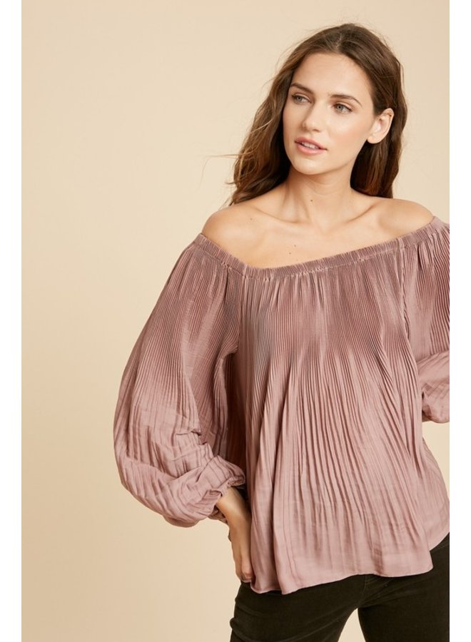 Pleated Off-The-Shoulder Blouse