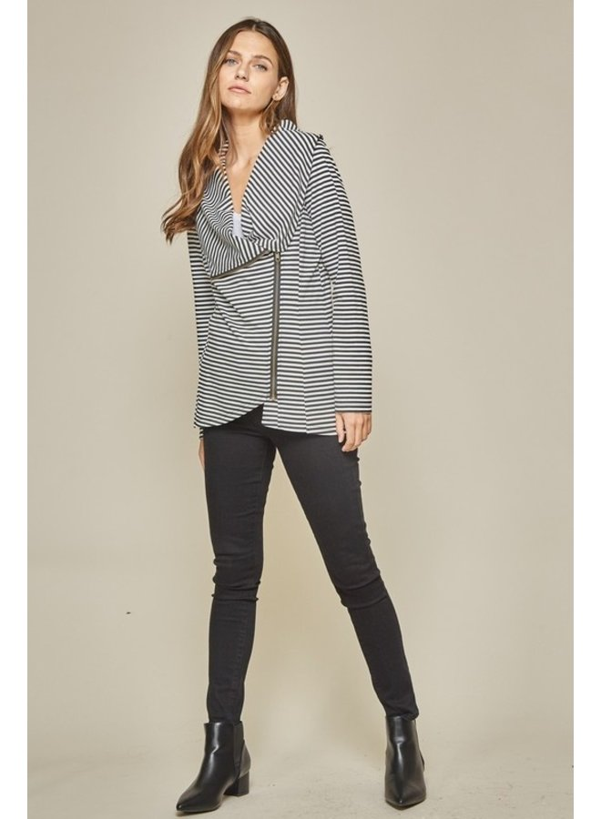 Asymmetrical Zip Striped Jacket