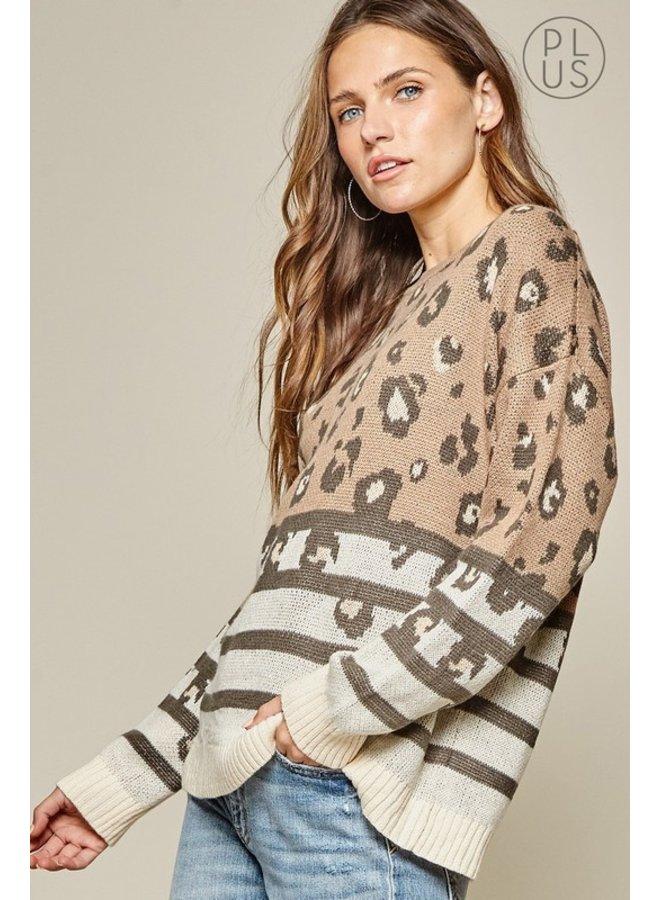 Leopard Contrast Sweater