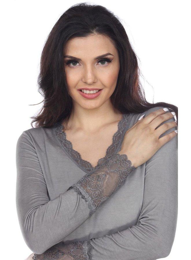Lace Trim Long Sleeve Top