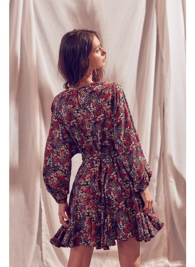 Long Sleeve Floral Bouncy Dress