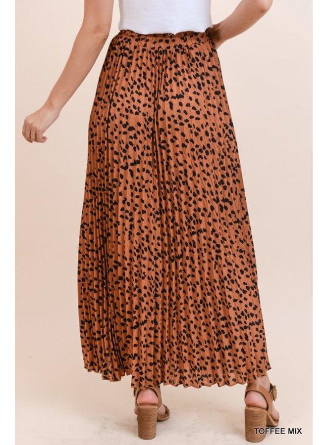 Animal Pleated Maxi Skirt