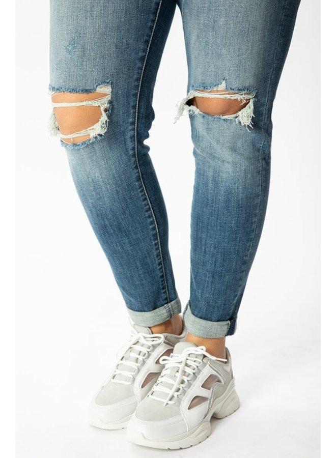 Distressed Medium Wash Skinny Jean