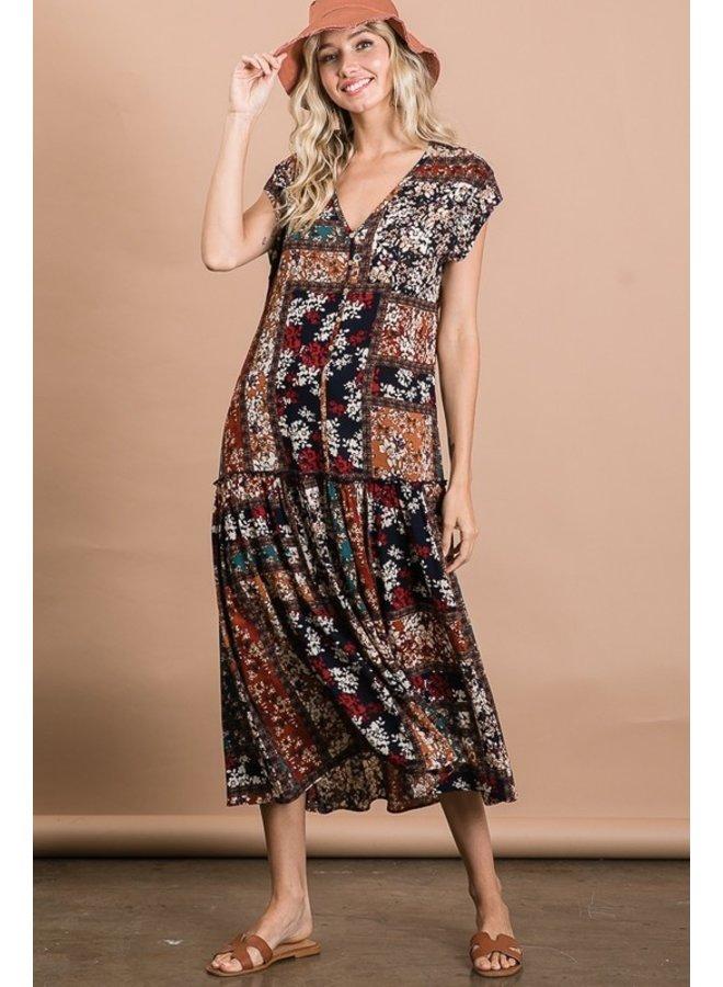 Patchwork Midi Dress