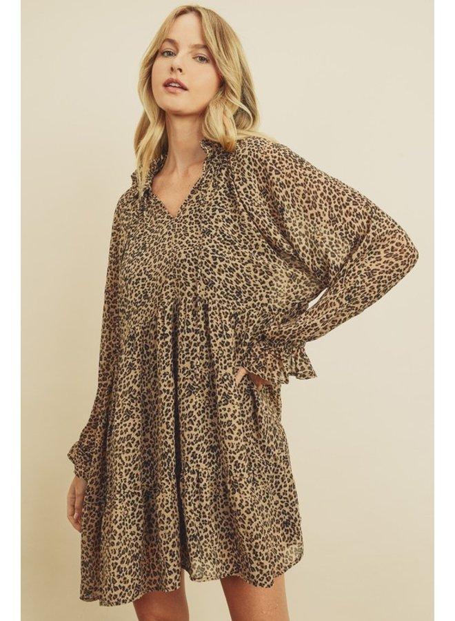 Cheetah Tiered Babydoll Dress