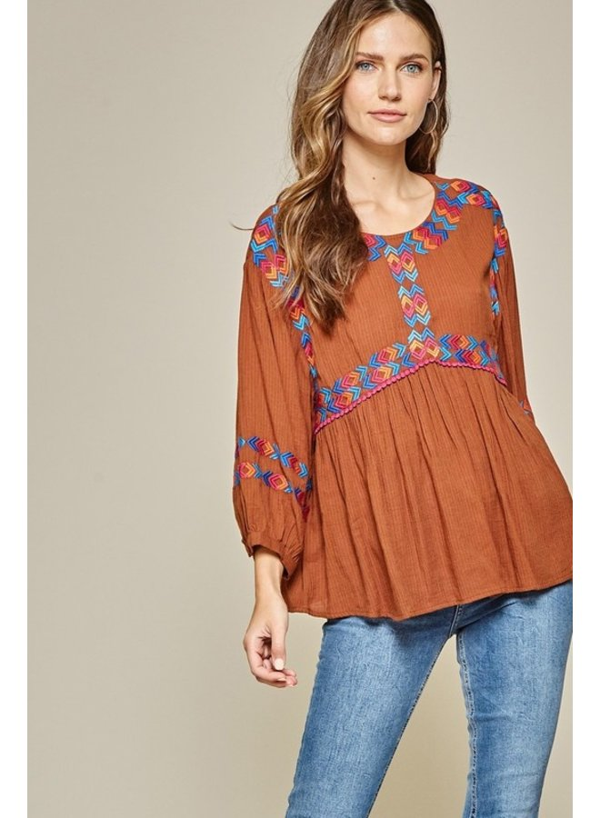Embroidered Babydoll Top