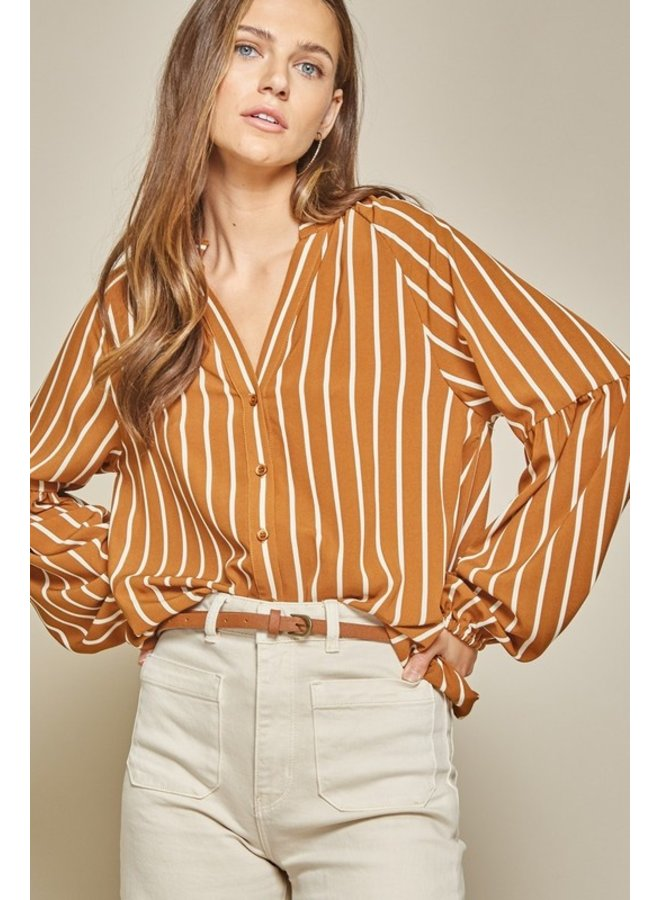 Striped Button-Up Blouse