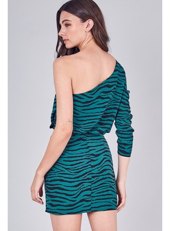 Zebra One Shoulder Dress