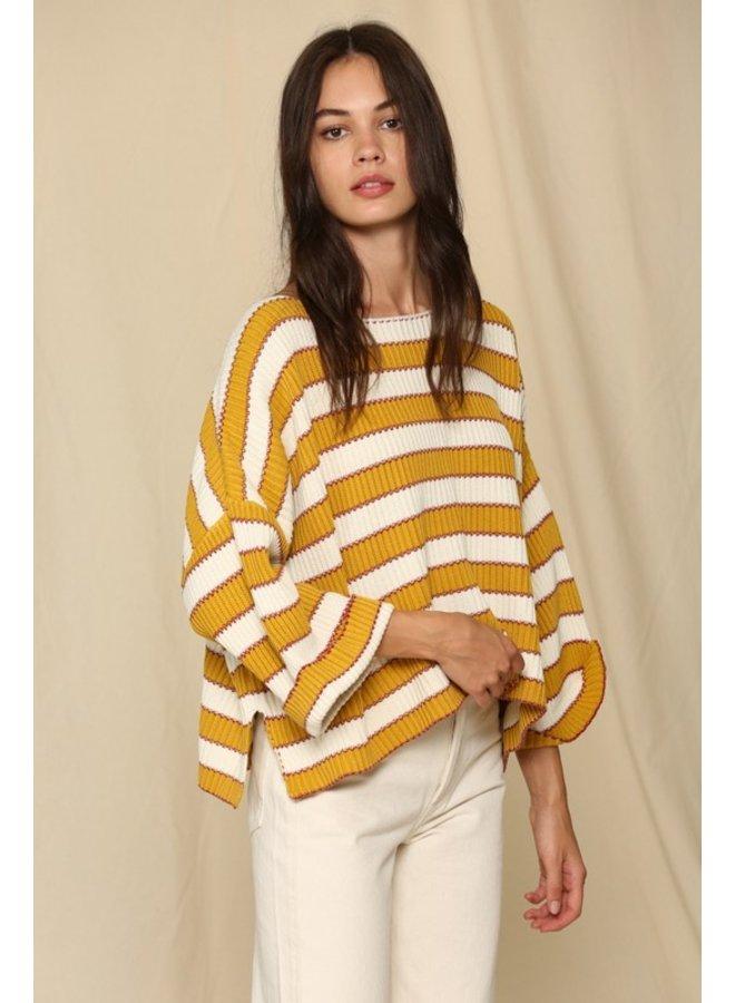 Wide Arm Striped Sweater