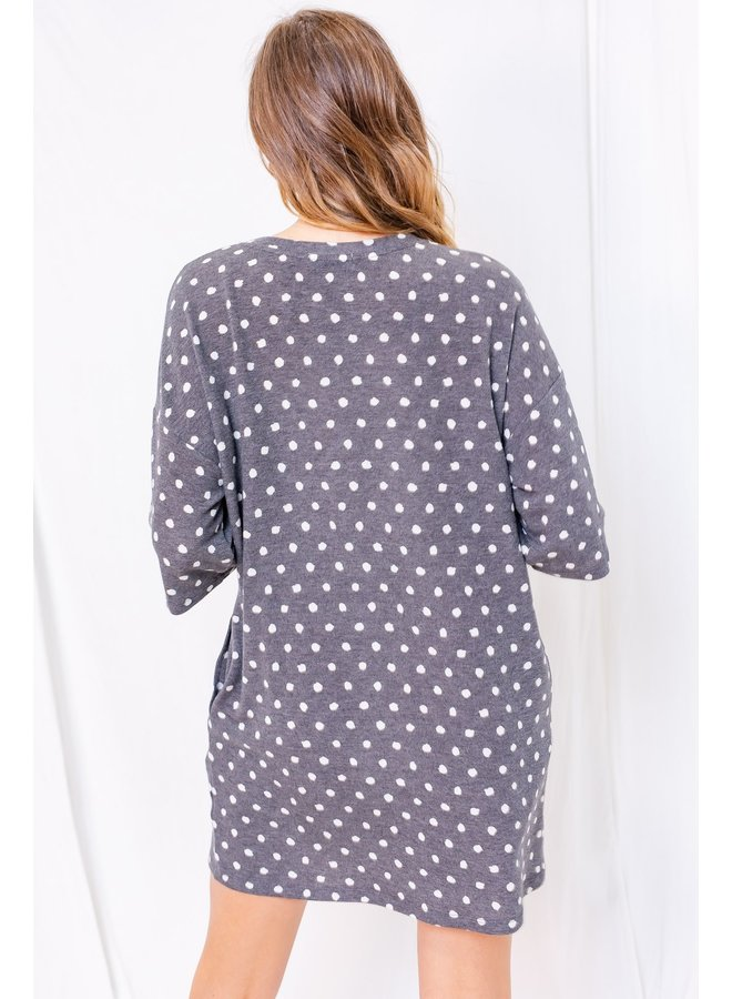 Dotted Knit Tee Dress