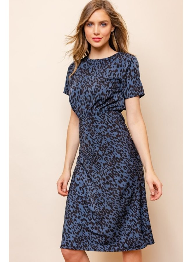 Satin Leopard Midi Dress