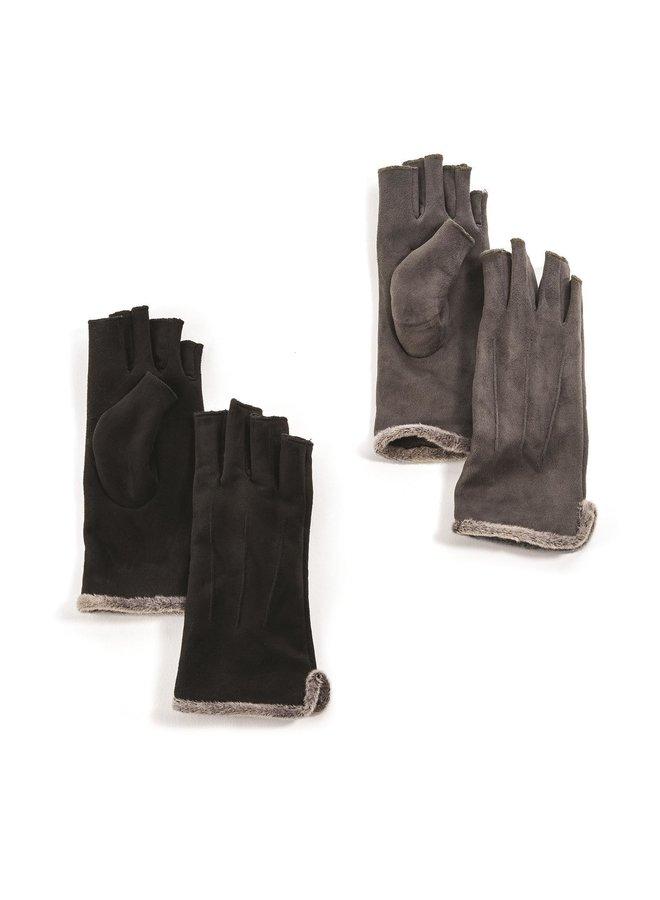 Suede Half-Finger Gloves
