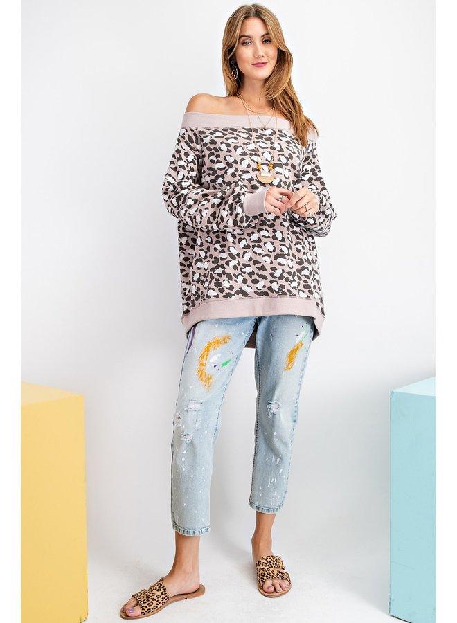 Off-The-Shoulder Cheetah Sweatshirt