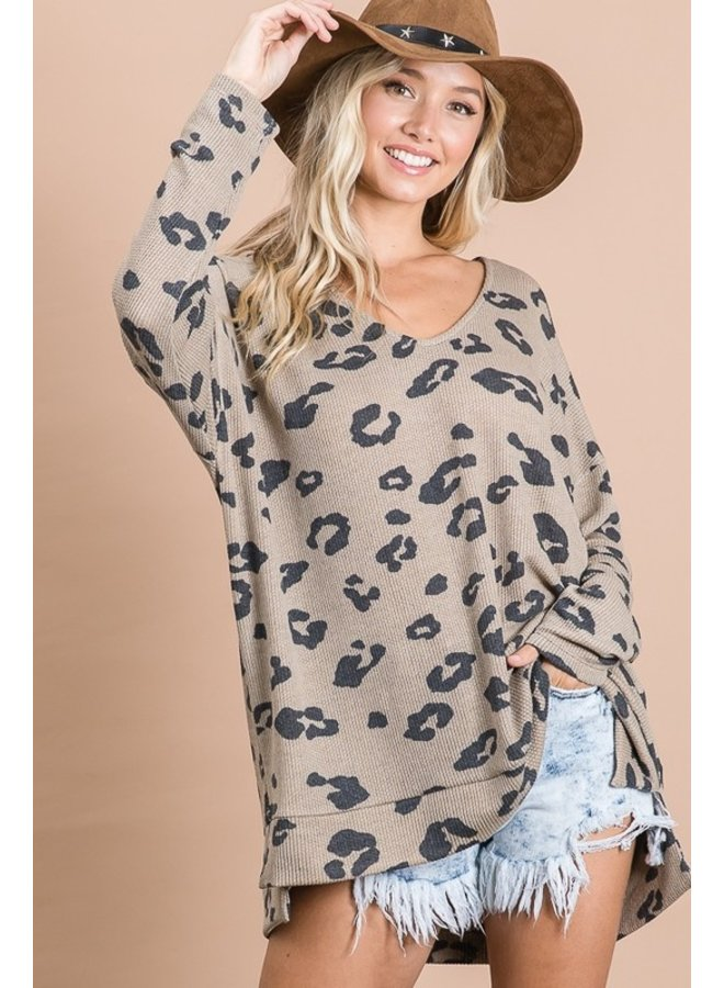Ribbed Knit Leopard Top