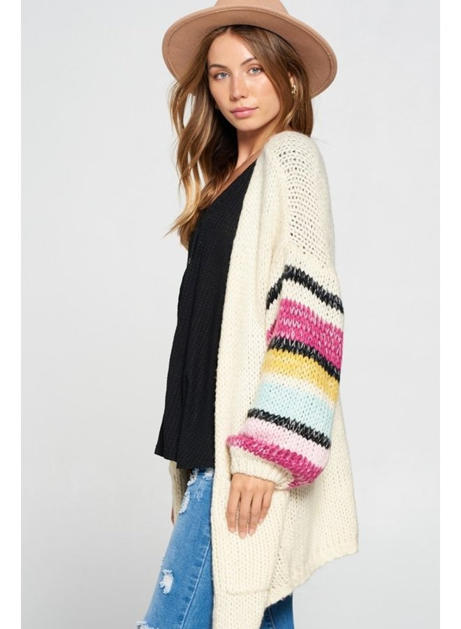 Striped Sleeve Knit Cardigan