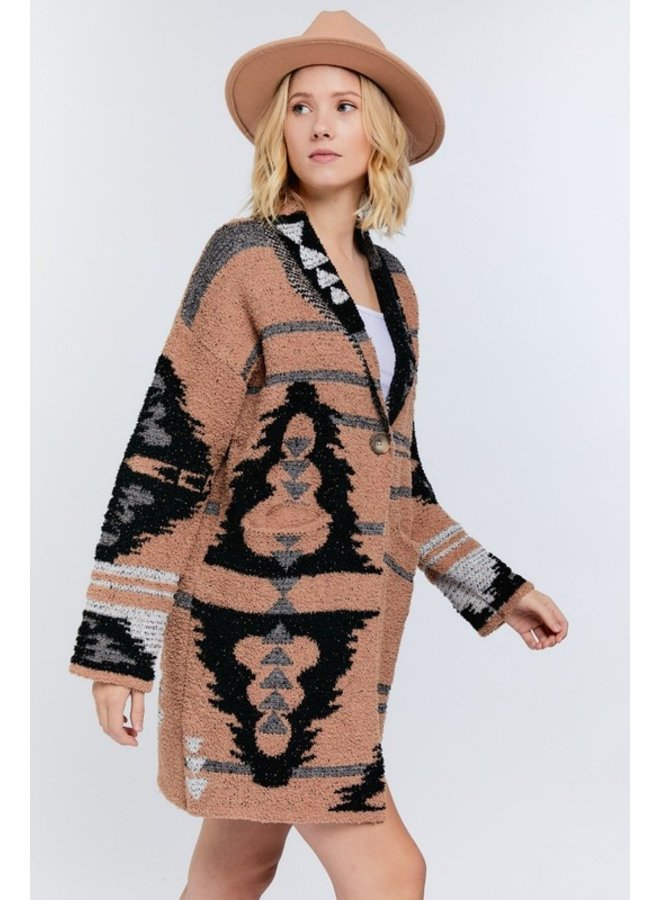 Aztec Button-Up Cardigan
