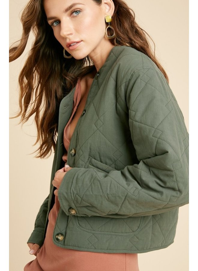 Quilted Button Down Jacket