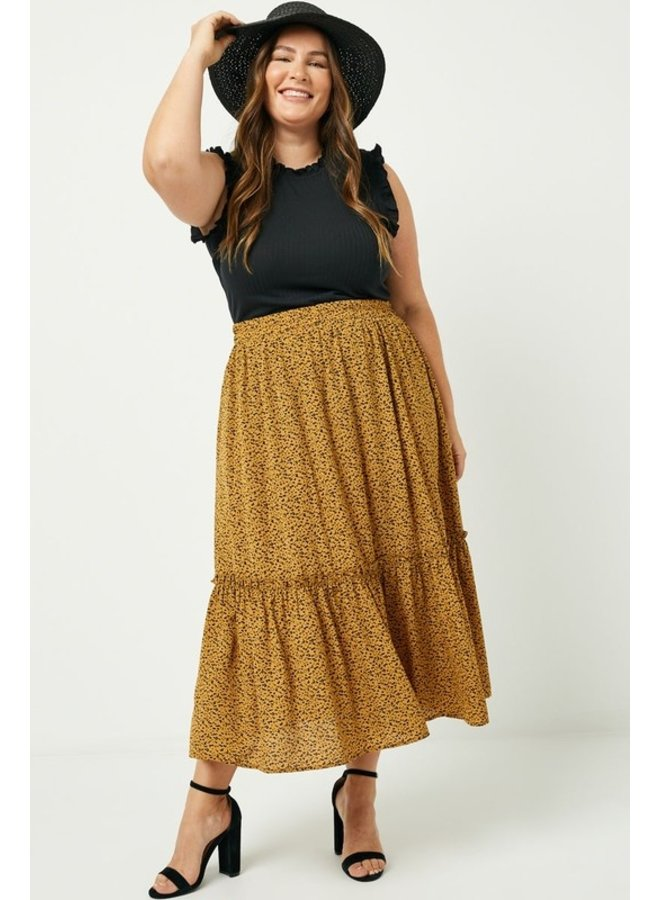 Dotted Tiered Midi Skirt
