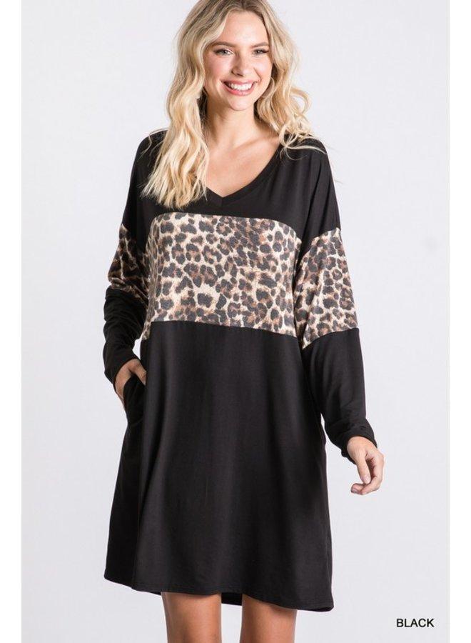 Leopard Stripe T-Shirt Dress