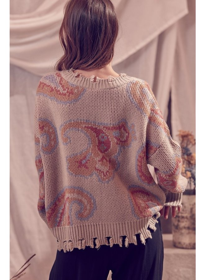 Paisley Distressed Sweater