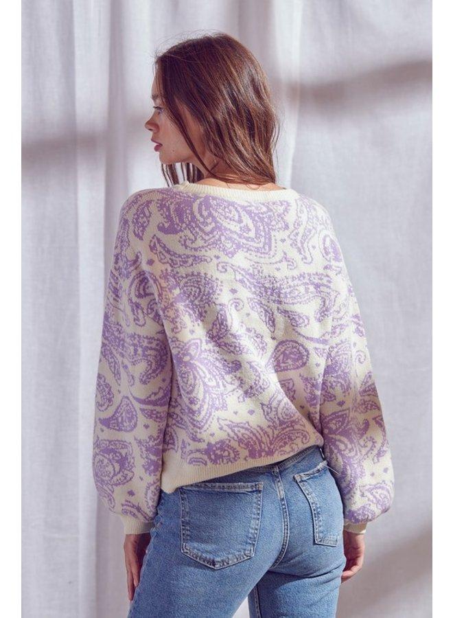 Puff Sleeve Paisley Sweater