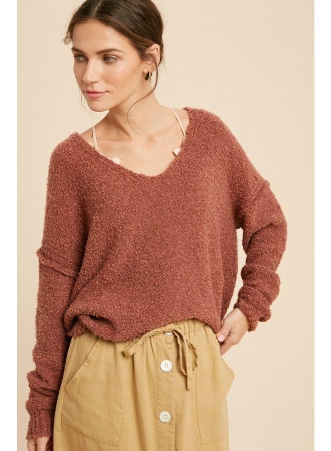 Fuzzy V-Neck Sweater