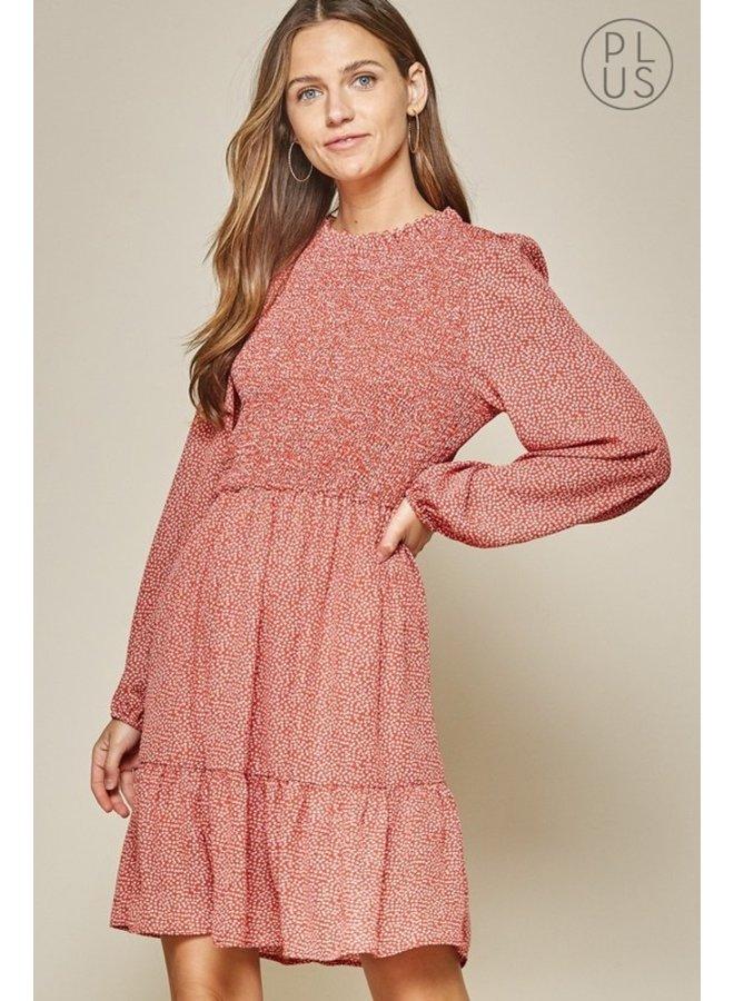 Smocked Front Print Dress