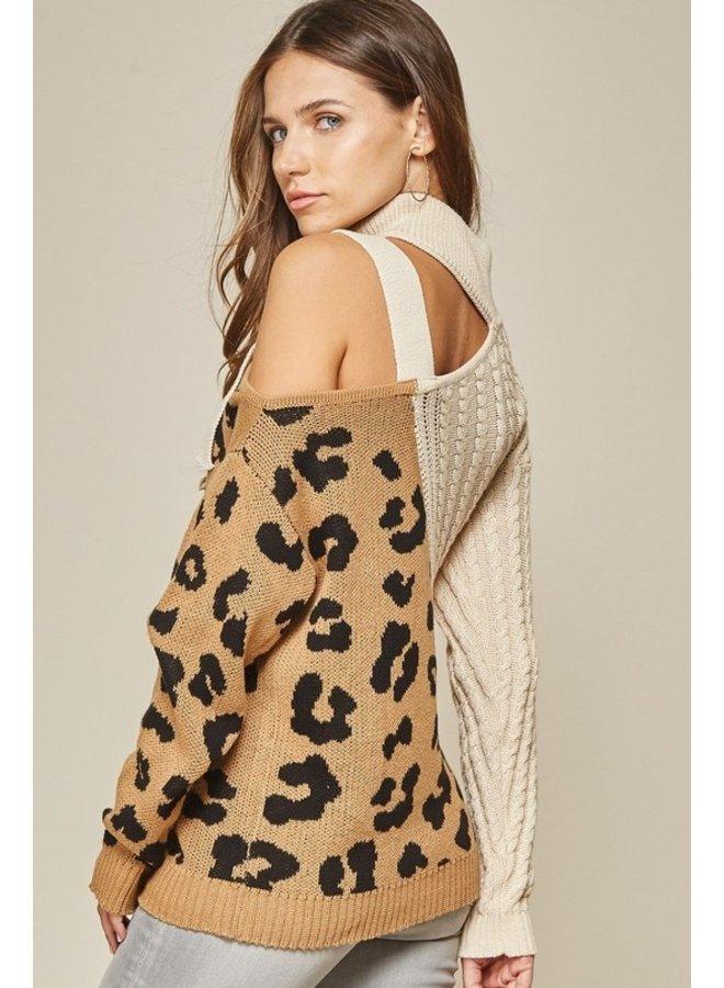 Cold Shoulder Leopard Sweater
