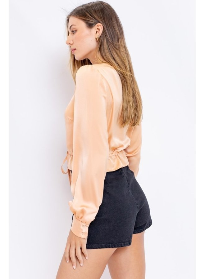 Silky Button-Front Top