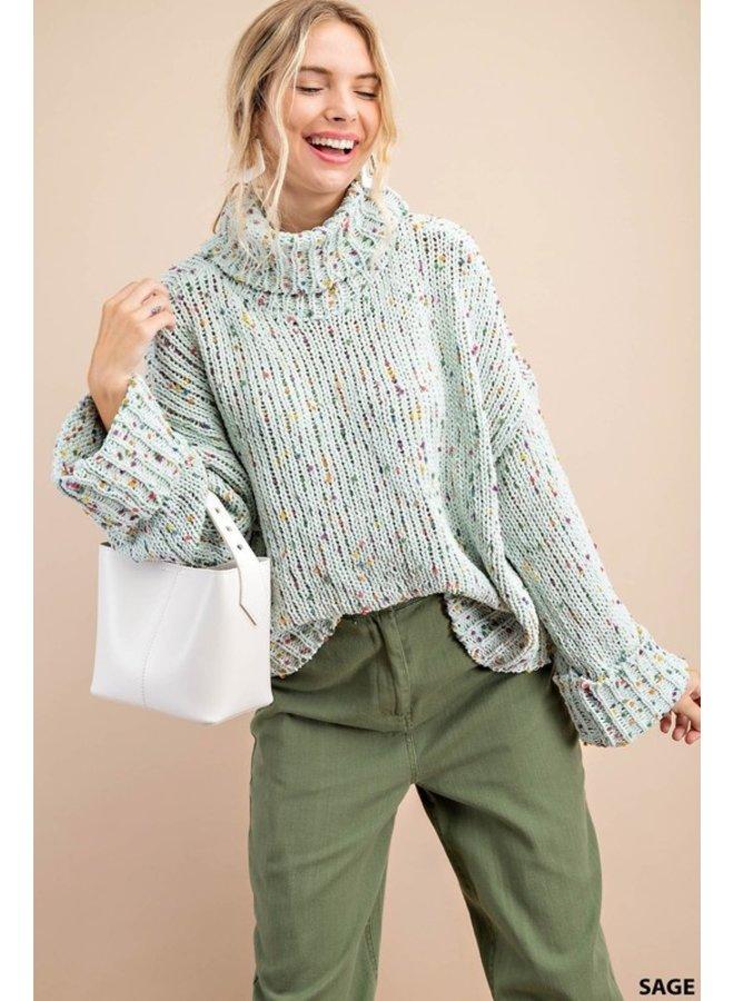 Speckled Turtleneck Sweater
