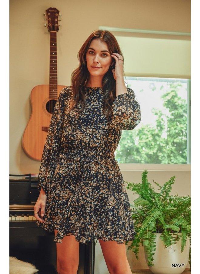 Elastic Waist Flounce Dress