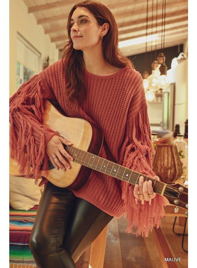 Fringed Sleeve Sweater
