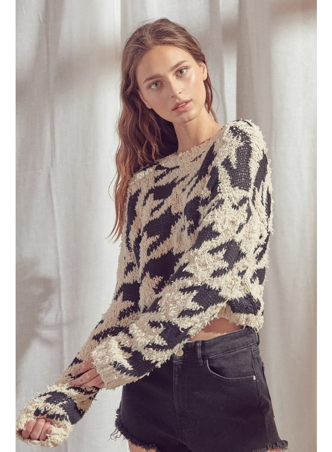 Houndstooth Cropped Sweater