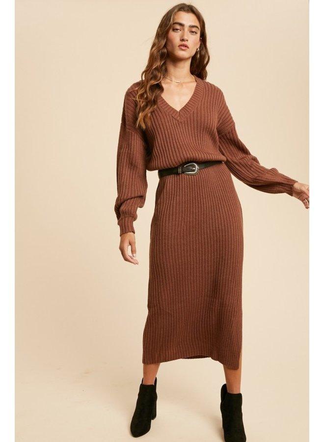Ribbed Maxi Sweater Dress