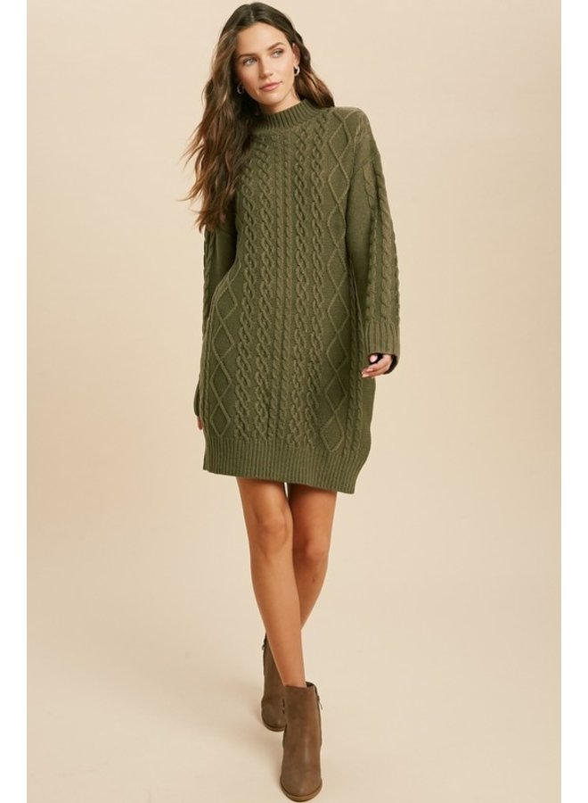 Cable Knit Mock Neck Sweater Dress