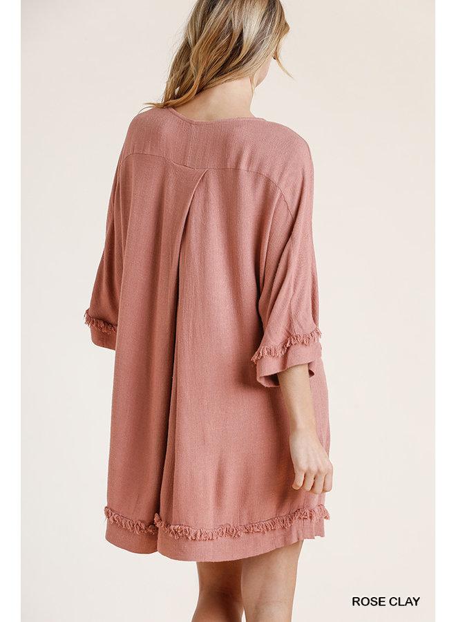 Frayed Edge Linen Dress