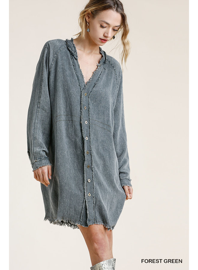 Frayed Edge Button Down Dress