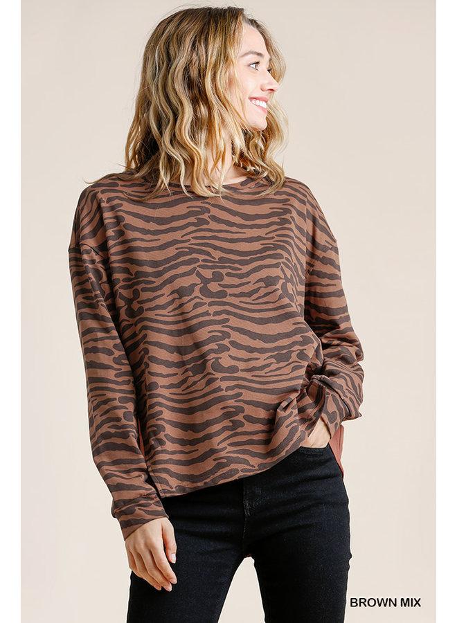 High-Low Tiger Print Top