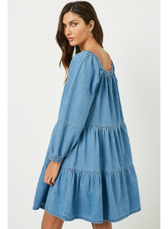Tiered Denim Dress