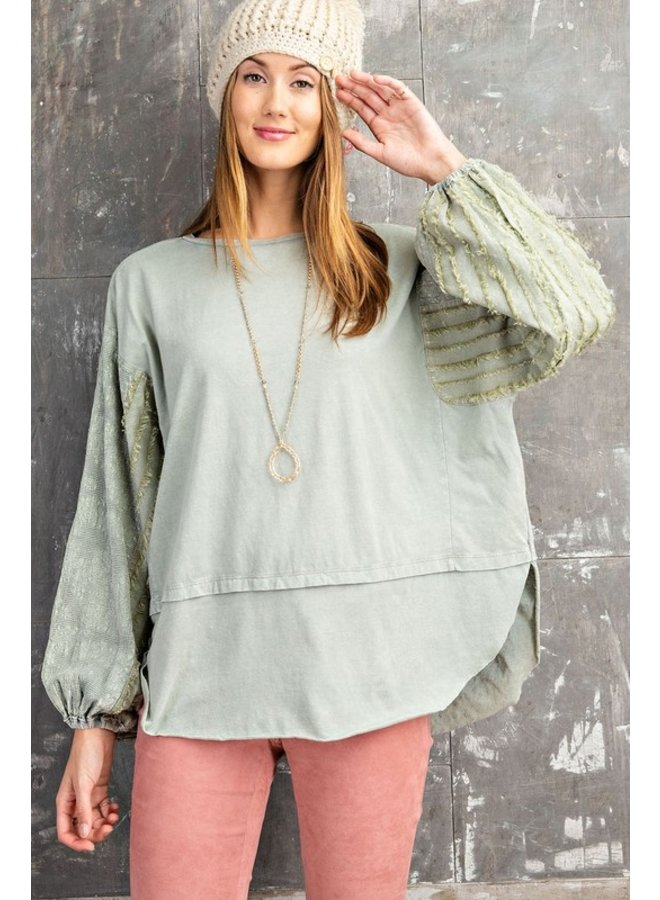 Textured Bubble Sleeve Top