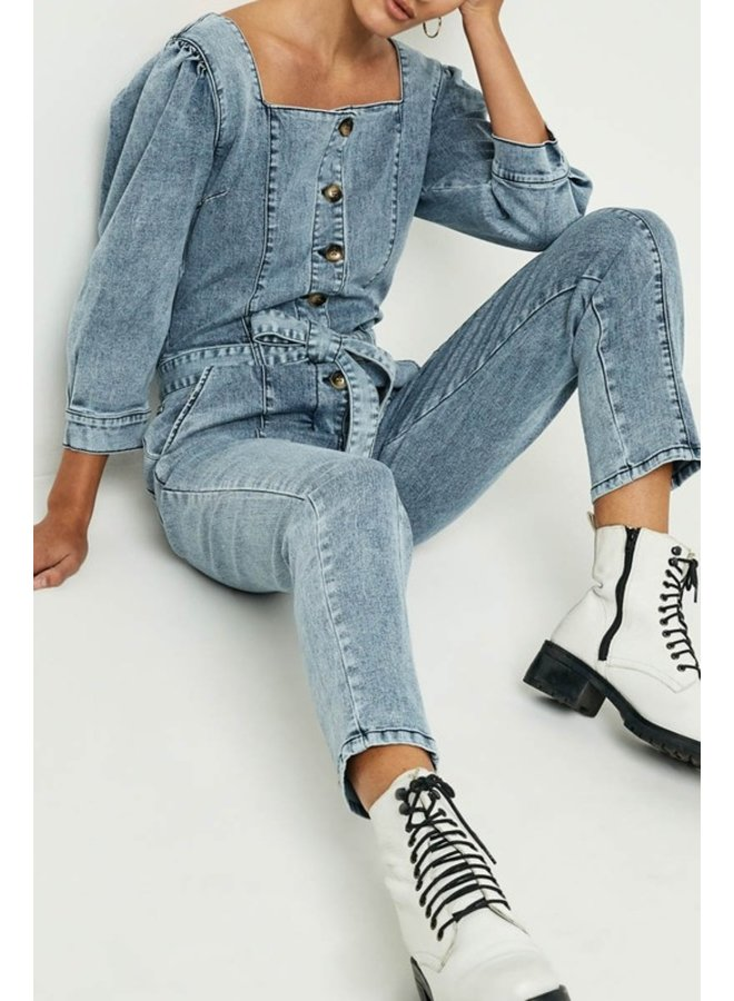 Button Up Denim Jumpsuit