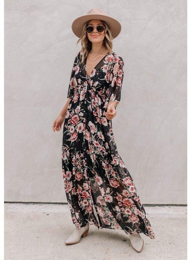 Floral Button-Down Maxi Dress